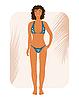 Vector clipart: brunette suntanned girl in bikin