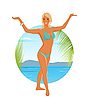 Vector clipart: pretty blond girl in summertime