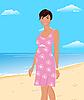 Vector clipart: beautifu girl on beach