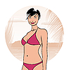 Vector clipart: abstract girl in summertime