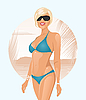 Vector clipart: pretty girl in summertime