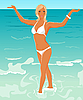 Vector clipart: pretty blond girl on beach