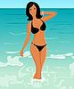 Vector clipart: pretty suntanned girl on beach