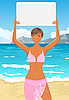 Vector clipart: girl in bikini with banner on the beach