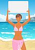 Векторный клипарт: девушки в бикини с баннера на пляже