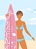 Vector clipart: girl with surfboard in her hand,
