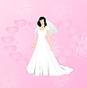 Vector clipart: Beauty bride on pink background