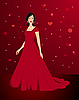 Vector clipart: Beautiful sexy woman in red dress