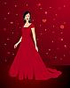 Schöne sexy Frau im roten Kleid