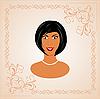 Векторный клипарт: Лицо портрет красивой девушки