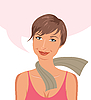 Vector clipart: nice girl about something thinks
