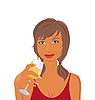 Vector clipart: pretty girl with beverage