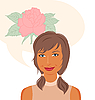 Vector clipart: attractive girl dreams of roses