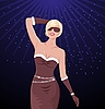 Vector clipart: sexy christmas dance girl on disco party