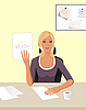 Vector clipart: business women with documents