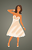 Vector clipart: pretty girl in white dress
