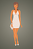 Vector clipart: fashion glamor girl in dress