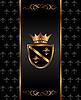 vintage dark golden card with heraldic elements