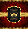 Vector clipart: golden vintage frame with crown