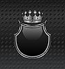 heraldic shield and crown on metallic background