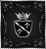 Векторный клипарт: старинные сообщение знак с серебряным геральдических элементов