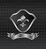 Векторный клипарт: геральдического щита на фоне металлических