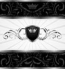 Vector clipart: ornate dark decorative frame with heraldic shield