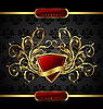 Vector clipart: gold floral packing with heraldic element