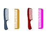 Vector clipart: Different hairbrushes are on white