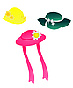 Vector clipart: Set of children headwear is on white