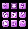 Vektor Cliparts: Haushaltsgeräte Symbole, lila Kontur-Serie