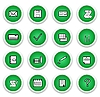 Vector clipart: Green sticker with icon 16