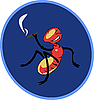 Vector clipart:  Smoking cigar an insect sitting