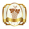 Vector clipart: decorative gold frame label with grapevine