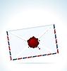 Векторный клипарт: Иллюстрация закрытом письме скрепленных красной сургучом