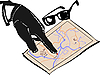 Vector clipart: Hand of mafia and map