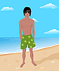 Vector clipart: brawny man on beach