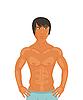 Векторный клипарт: сексуальный парень, мышечных