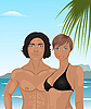 Векторный клипарт: молодая пара на пляже