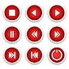 Vector clipart: Music red buttons set
