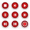 Векторный клипарт: Музыка красные кнопки набора