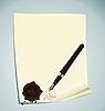 Векторный клипарт: Иллюстрация руки-дро буквами на бумаге с воском печать