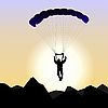 Vector clipart: parachutist of sunrise