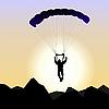 Векторный клипарт: Реалистичная парашютист восход солнца