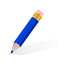 Vector clipart: single blue pencil
