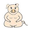 Векторный клипарт: Мультфильм большая свинья