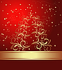 Vector clipart: red card with christmas tree