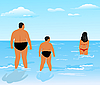 Vector clipart: two thick men (father and son) look at beauty girl