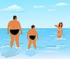 Векторный клипарт: два толстых мужчин (отец и сын) посмотреть на красоты девушка