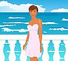 Векторный клипарт: Девушка на набережной у моря